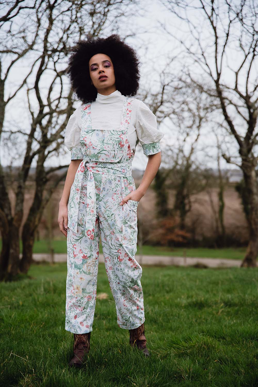 CLO WHITE FLORAL DUNGAREES (SOLD OUT)