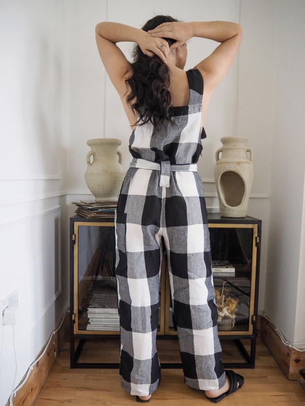 Black and White linen Clo dungarees6