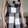 Black and White linen Clo dungarees7