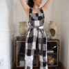 Black and white linen Clo dungarees2